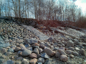 Kanonersky island banks enforced with granite blocks — partially destroyed