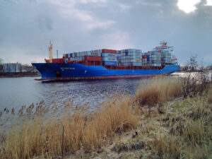 Wybelsum container ship heading to St. Petersburg harbor