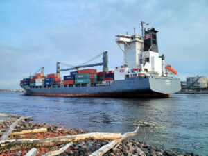 Viona container ship heading to St. Petersburg harbor